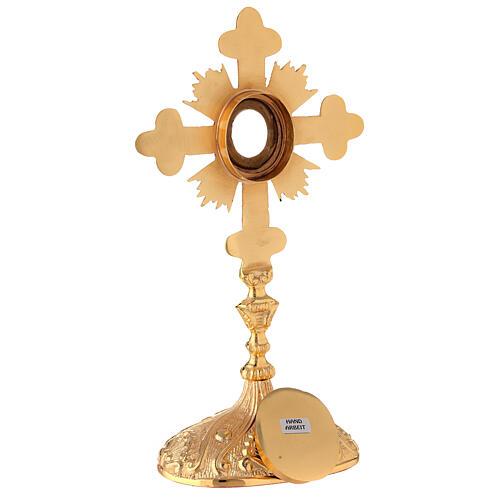 Reliquiario ovale croce trilobata raggi ottone dorato 28 cm 7