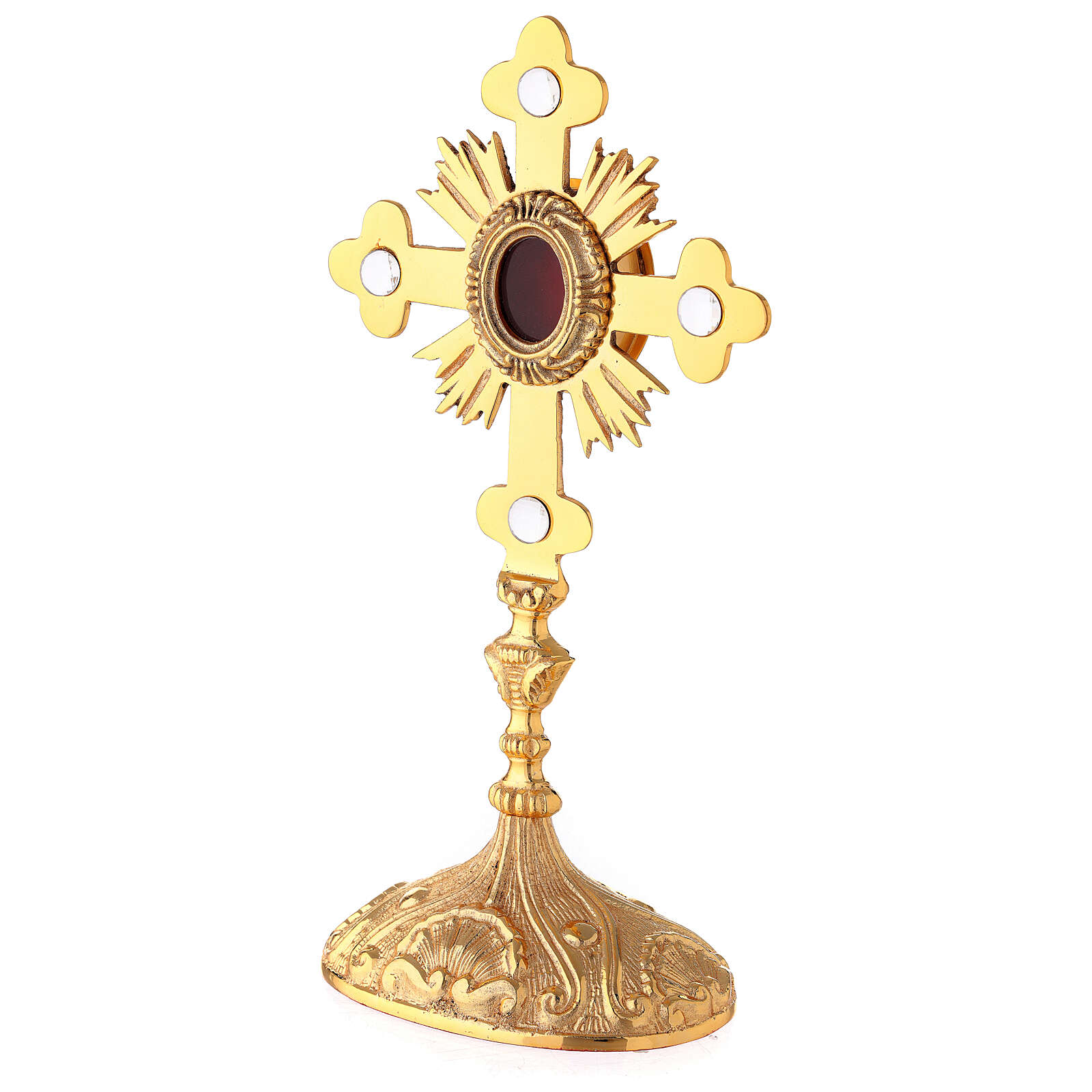 Oval reliquary with budded cross and rays gold plated brass 11 in 4