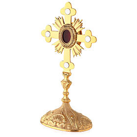 Oval reliquary with budded cross and rays gold plated brass 11 in s4