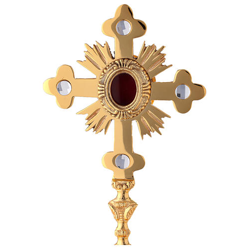 Oval reliquary with budded cross and rays gold plated brass 11 in 2