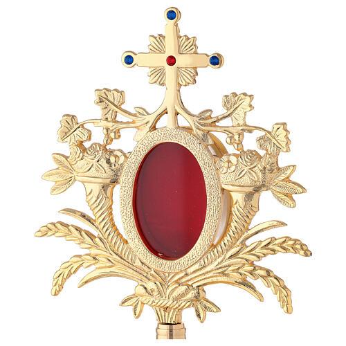 Relicario barroco uva trigo 33 cm latón dorado cristales 2