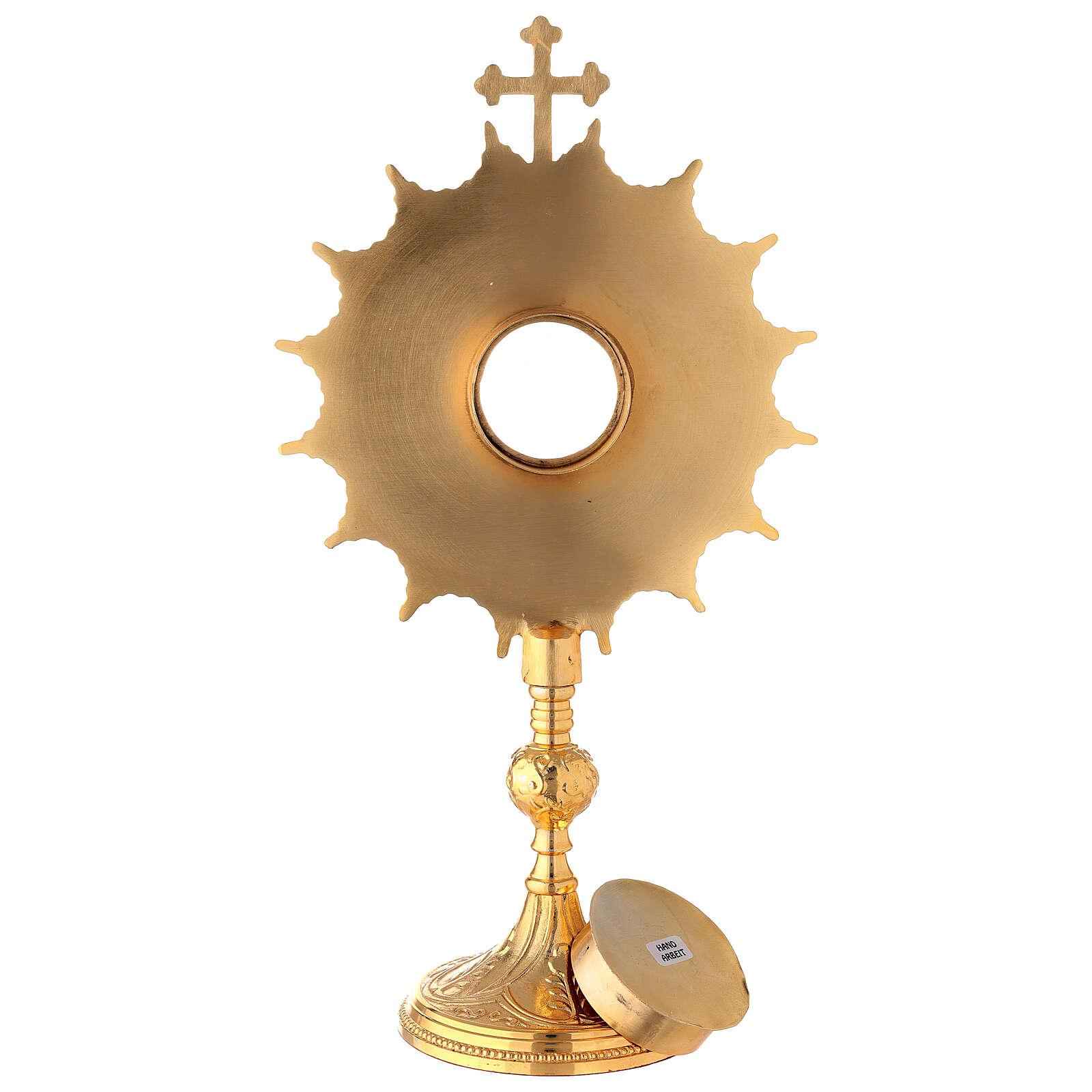 Reliquaire doré rayons pleins 35 cm 4