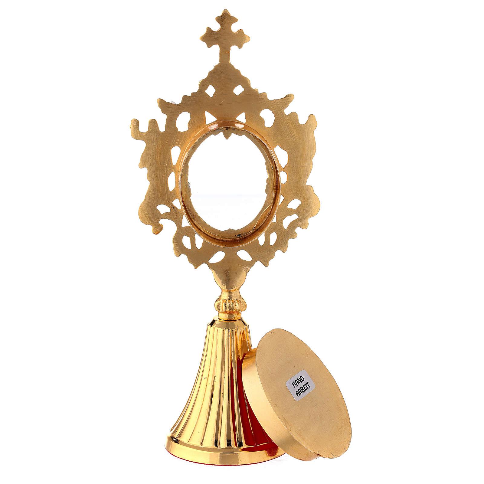 Reliquiario angeli ottone dorato teca ovale 22 cm 4