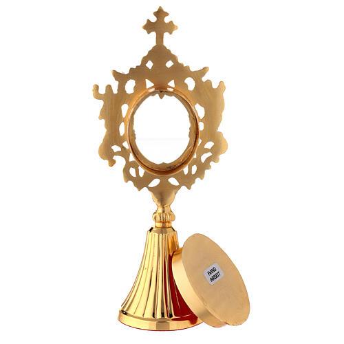 Reliquiario angeli ottone dorato teca ovale 22 cm 5