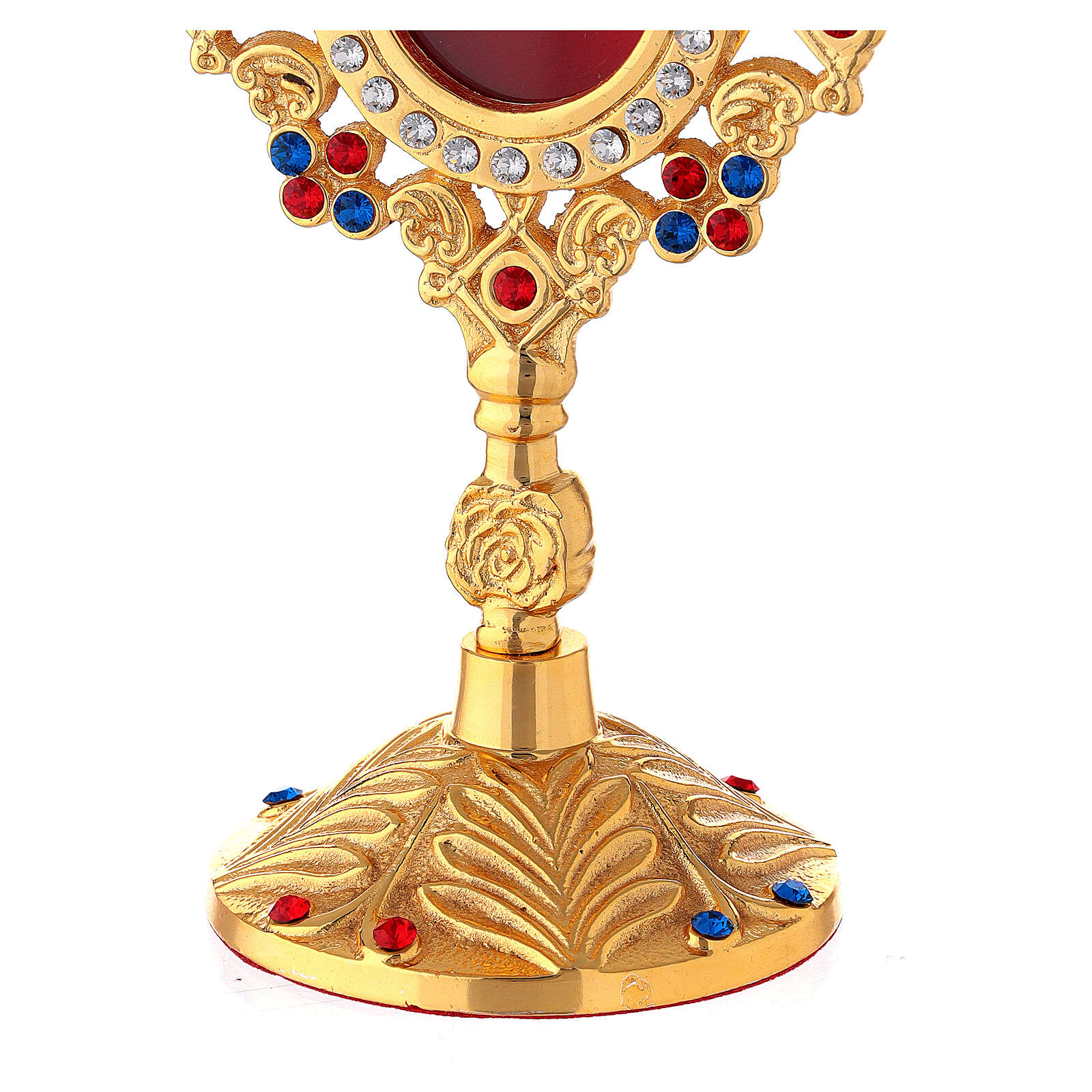 Gold plated brass reliquary with crystals and rose 8 in 4