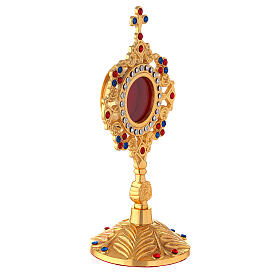 Gold plated brass reliquary with crystals and rose 8 in s5
