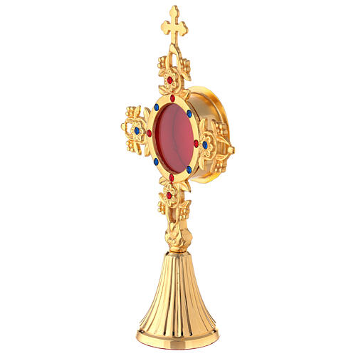 Gold plated brass reliquary with crystals and leaf fruit pattern 9 3/4 in 3