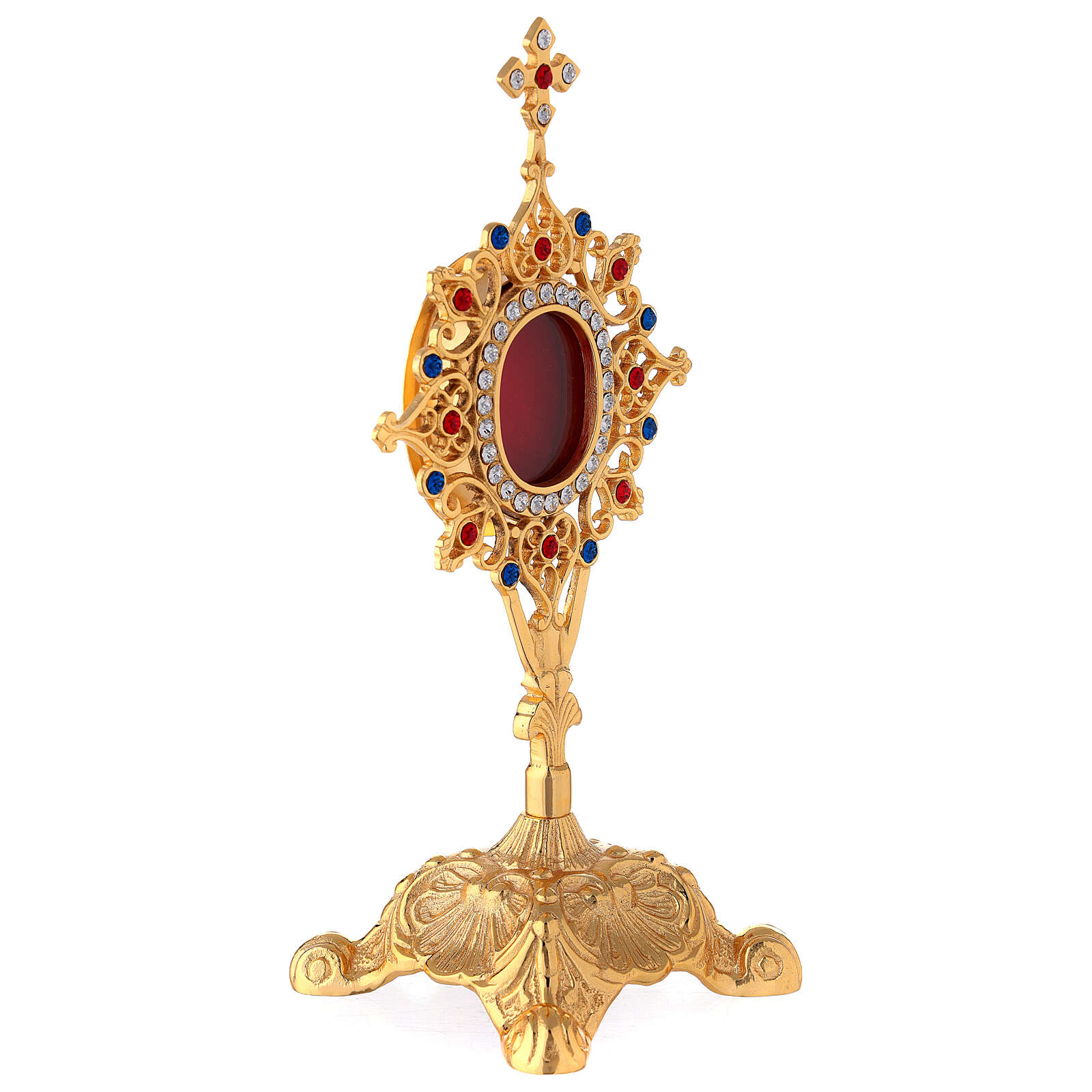 Reliquiario barocco ovale ottone cristalli 24 cm 4