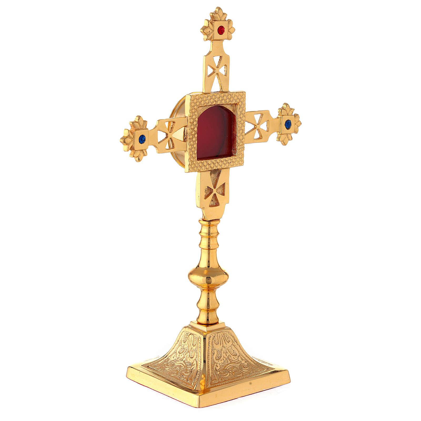 Reliquiario squadrato croce latina ottone dorato 25 cm 4