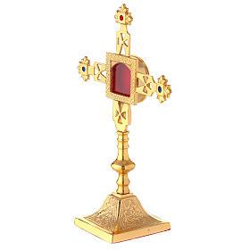 Reliquiario squadrato croce latina ottone dorato 25 cm s2