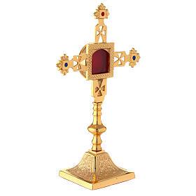 Reliquiario squadrato croce latina ottone dorato 25 cm s3