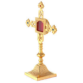 Squared reliquary with latin cross of gold plated brass 9 3/4 in s2