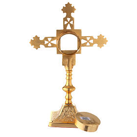 Squared reliquary with latin cross of gold plated brass 9 3/4 in s4