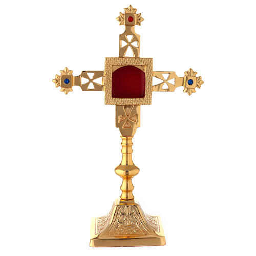 Squared reliquary with latin cross of gold plated brass 9 3/4 in 1