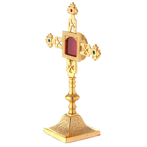 Squared reliquary with latin cross of gold plated brass 9 3/4 in 2
