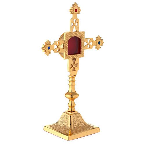 Squared reliquary with latin cross of gold plated brass 9 3/4 in 3