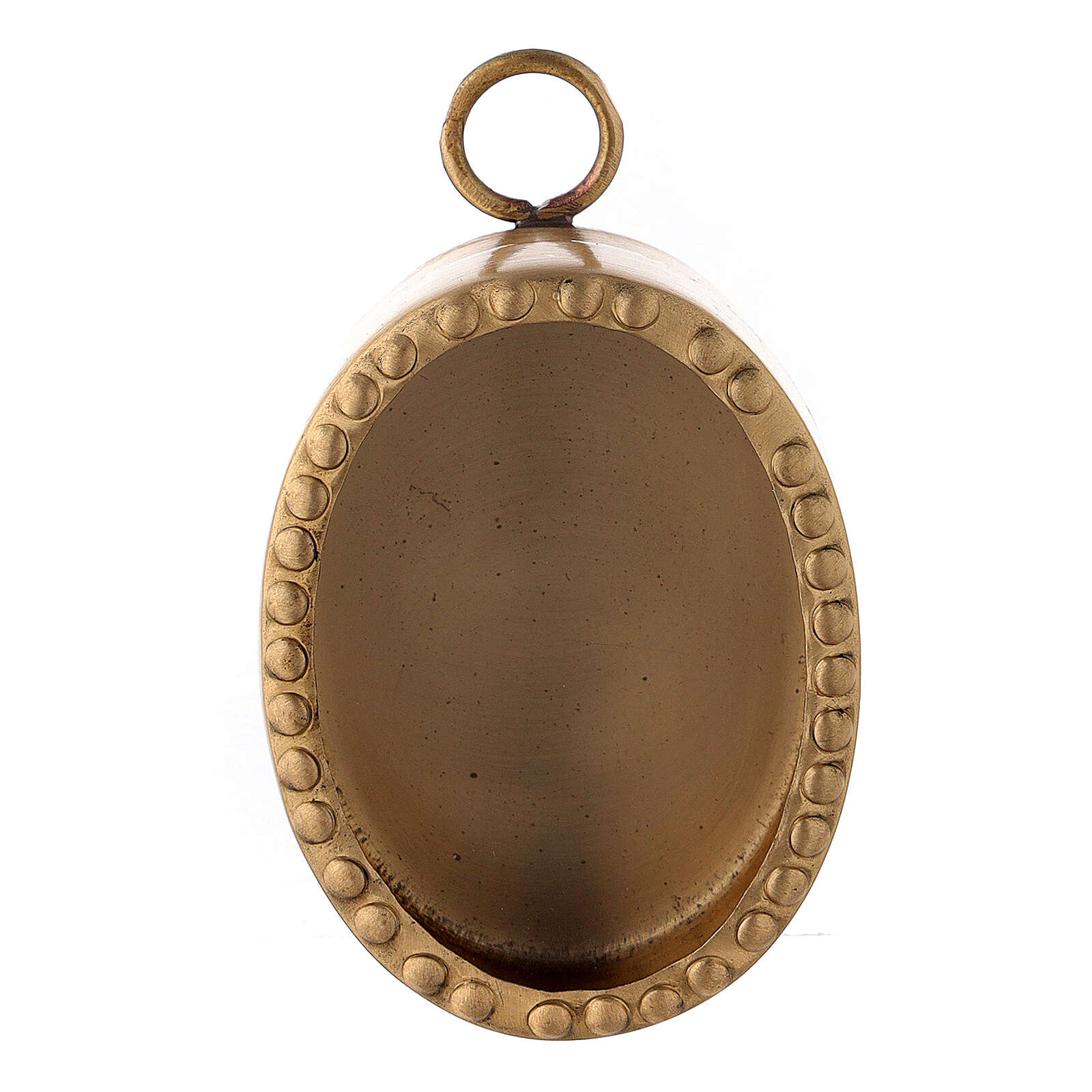 Oval wall shrine in golden brass with beads, 6 cm 4