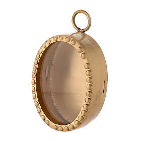 Wall oval reliquary with beads in gold plated brass 2 1/2 in s2