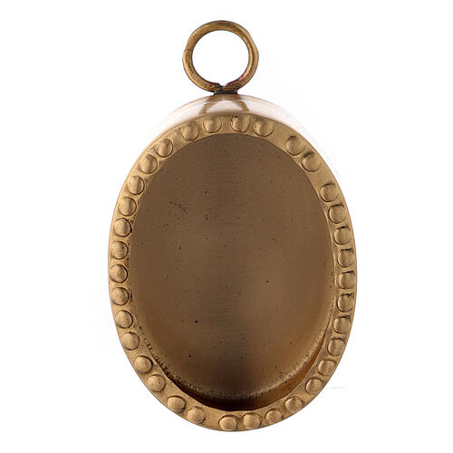 Wall oval reliquary with beads in gold plated brass 2 1/2 in 1