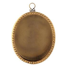 Reliquaire mural laiton doré ovale 10 cm perles s1