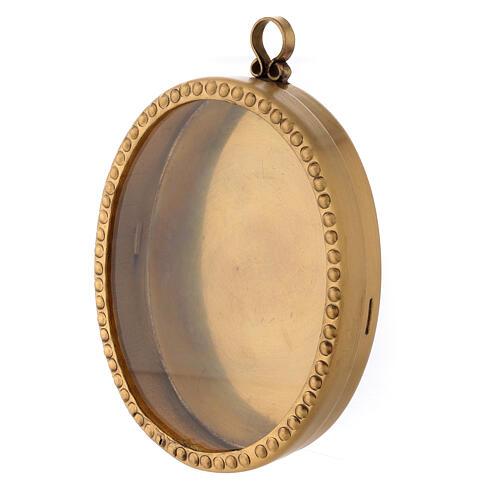 Reliquaire mural laiton doré ovale 10 cm perles 2