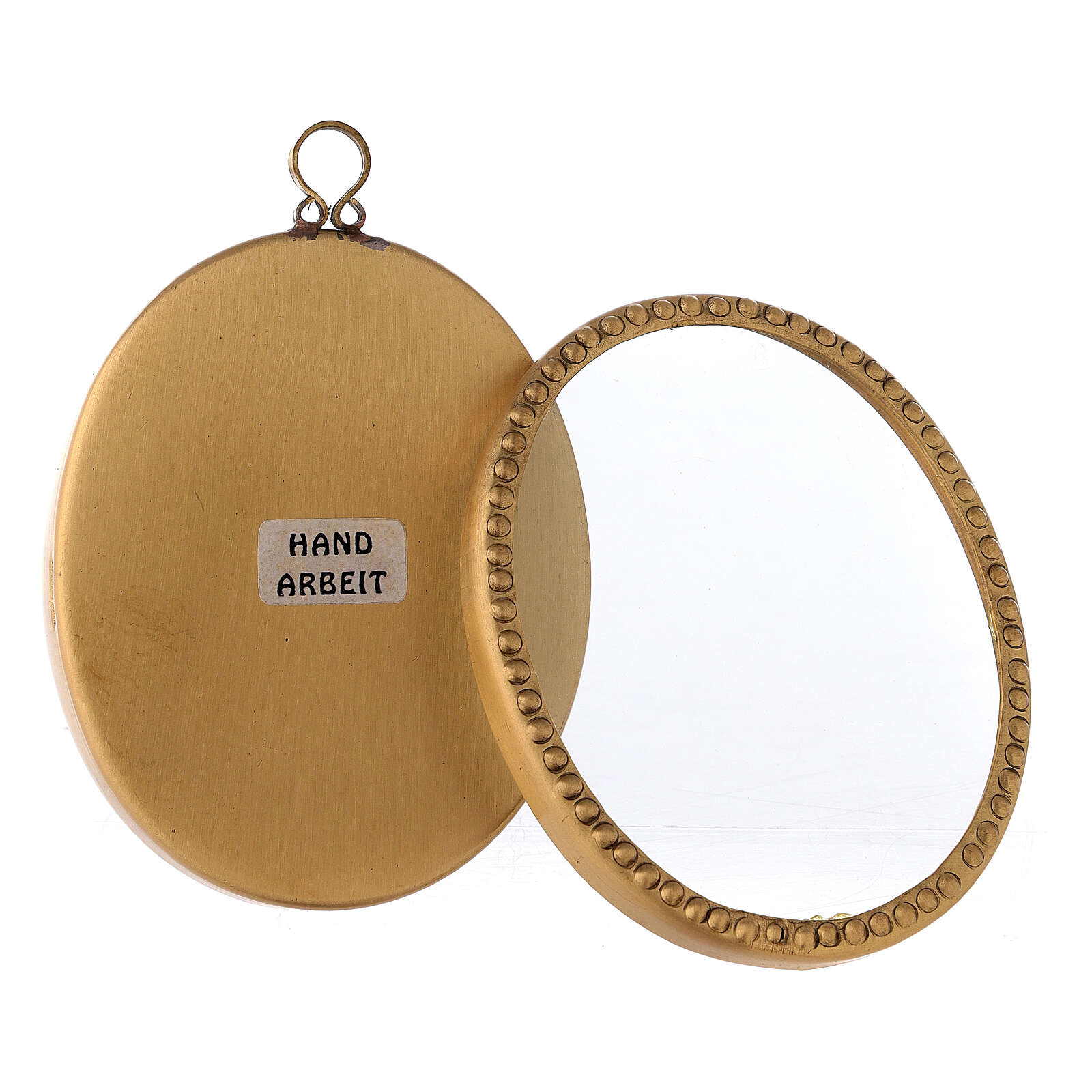 Reliquiario da parete ottone dorato ovale 10 cm perline 4