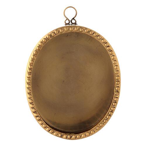 Reliquiario da parete ottone dorato ovale 10 cm perline 1