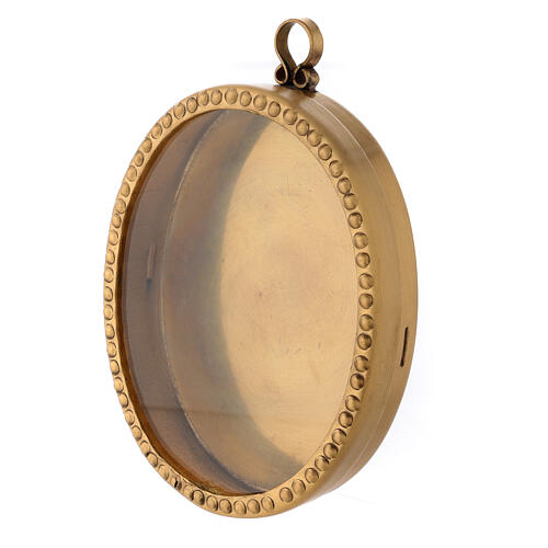 Reliquiario da parete ottone dorato ovale 10 cm perline 2