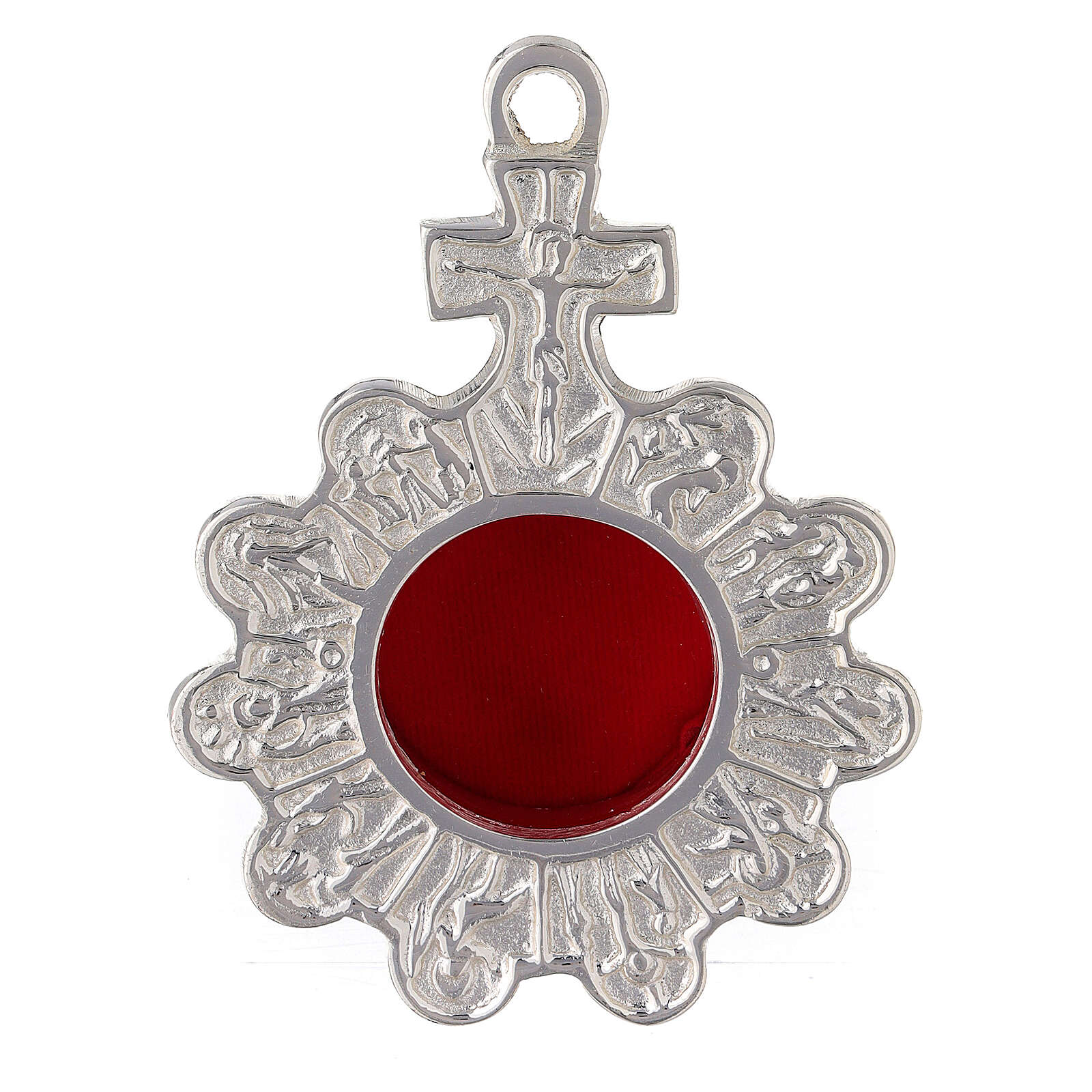 Relicario rosario de pared latón plateado 4
