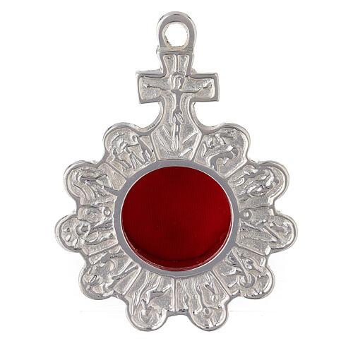 Reliquiario rosario da parete ottone argentato 1
