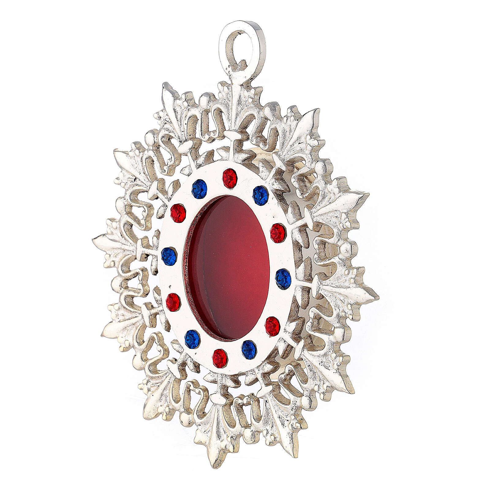 Wall reliquary with lily shaped rays of silver plated brass and crystals 4