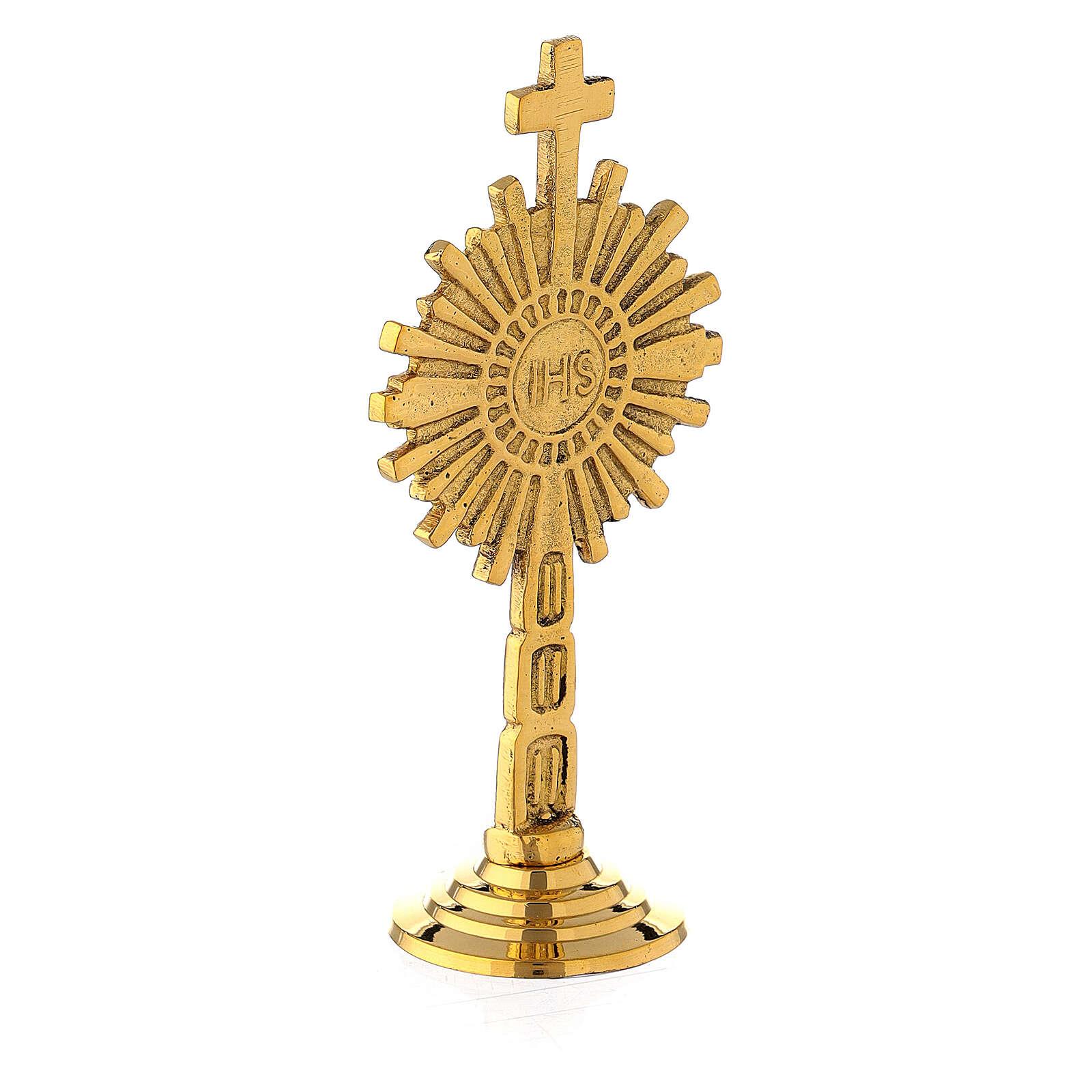 Ostensorio mini IHS latón dorado 10 cm 4