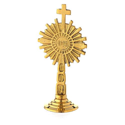 Ostensorio mini IHS ottone dorato 10 cm 1