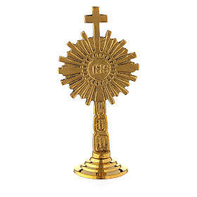 Small monstrance IHS gold plated brass 4 in s4