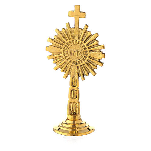 Small monstrance IHS gold plated brass 4 in 1