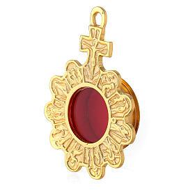 Reliquiario da parete rosario ottone dorato croce s2