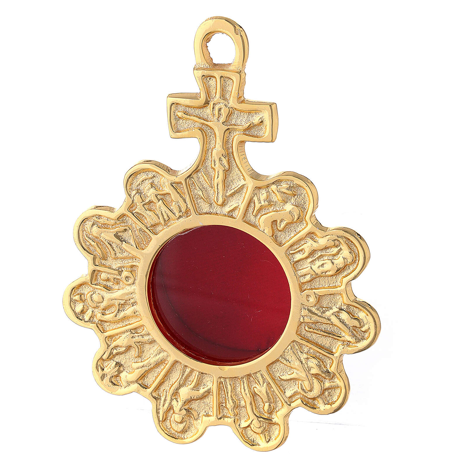 Wall rosary reliquary of gold plated brass with cross 4
