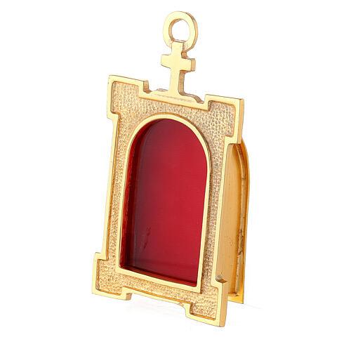 Reliquaire mural portail laiton doré velours rouge 2