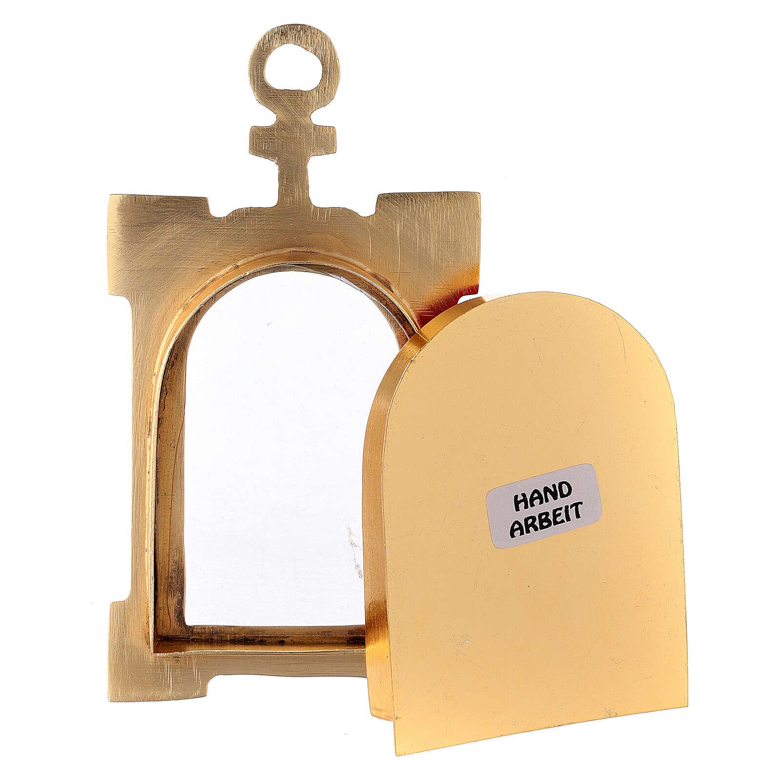 Reliquiario portale da parete ottone dorato velluto rosso 4