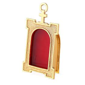 Reliquiario portale da parete ottone dorato velluto rosso s2