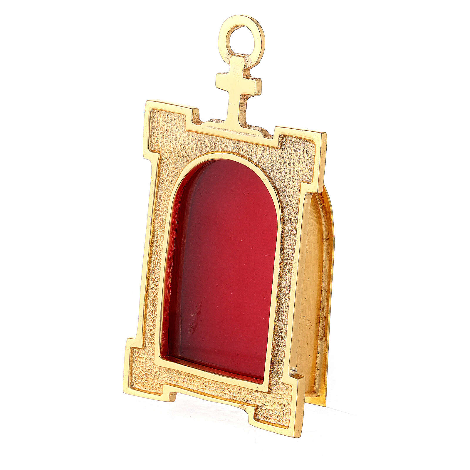 Wall gate reliquary of gold plated brass and red velvet 4