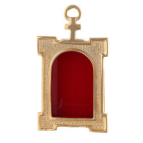 Wall gate reliquary of gold plated brass and red velvet s1