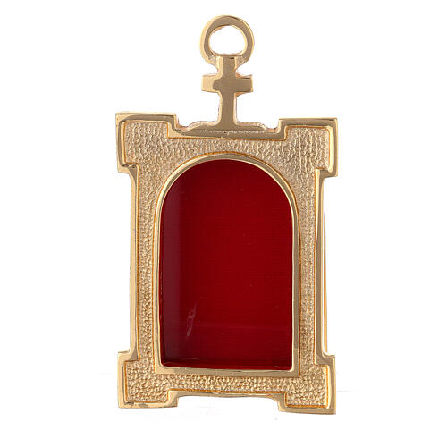 Wall gate reliquary of gold plated brass and red velvet 1