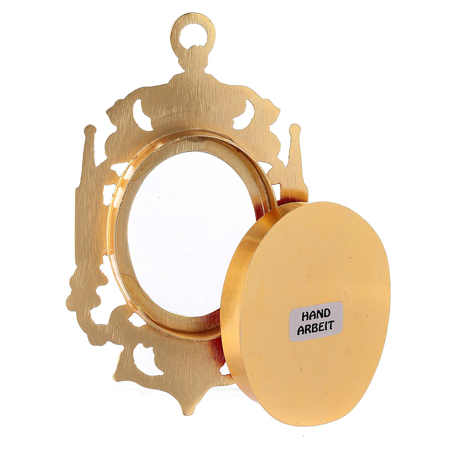 Reliquiario da parete ottone dorato gotico cristalli colorati 4