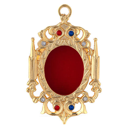 Wall gothic reliquary of gold plated brass and colorful crystals 1