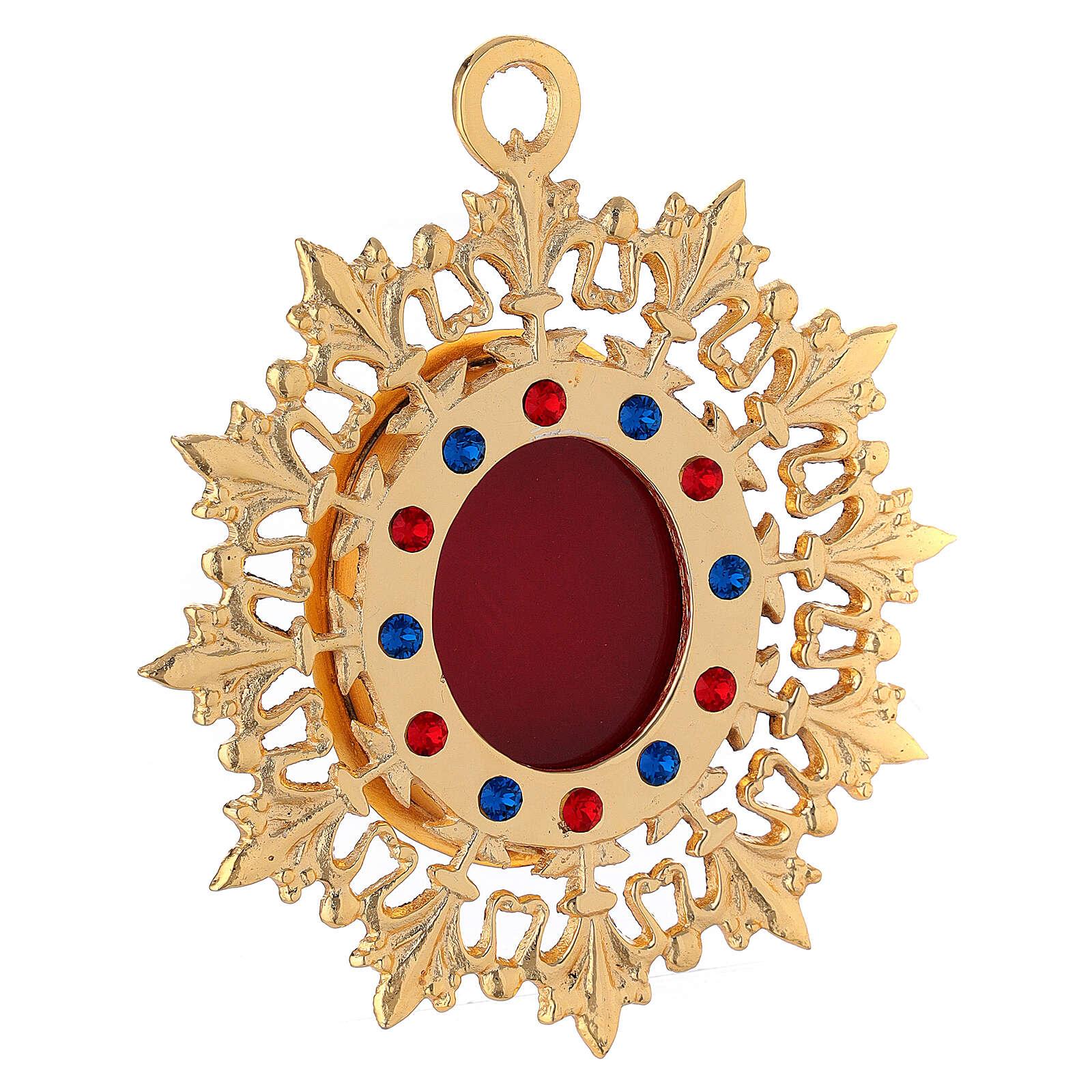 Reliquiario da parete raggiera ottone dorato cristalli 4