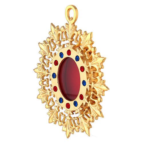 Reliquiario da parete raggiera ottone dorato cristalli 2