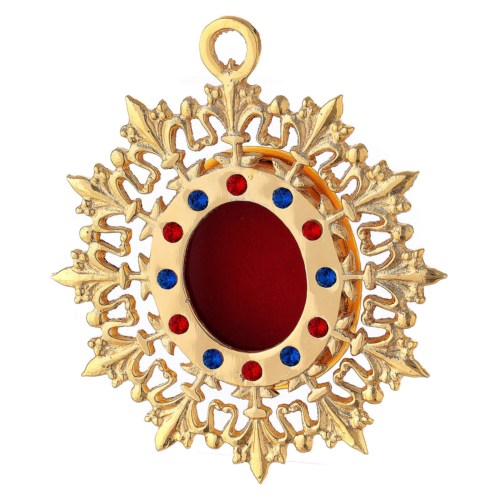 Wall reliquary sunburst design gold plated brass and crystals 4