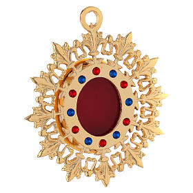Wall reliquary sunburst design gold plated brass and crystals s3