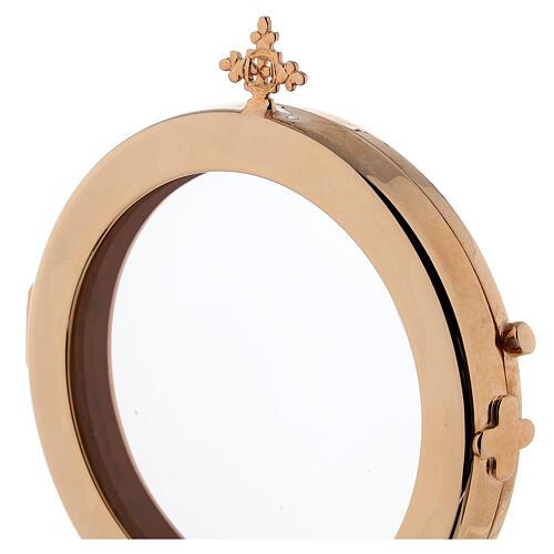 Ostensoir diamètre 8 cm laiton doré Moines Bethléem 3